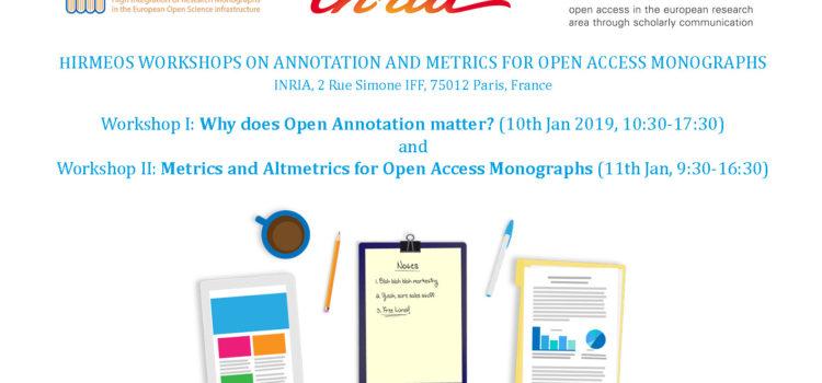 HIRMEOS Workshops on Annotation and Metrics for OA Monographs, 10-11 Jan 2019, Paris